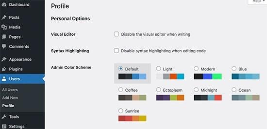 WP 5.7 Admin Color Scheme Palettes