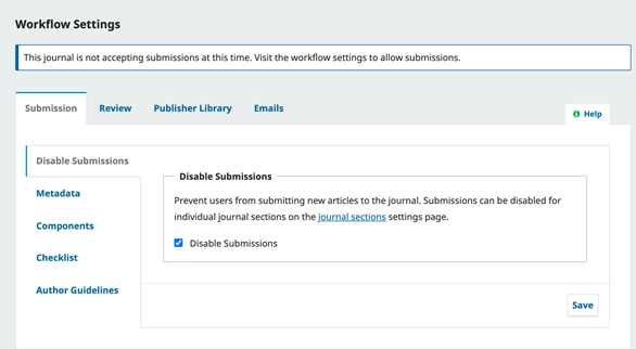 Disable Submission In OJS