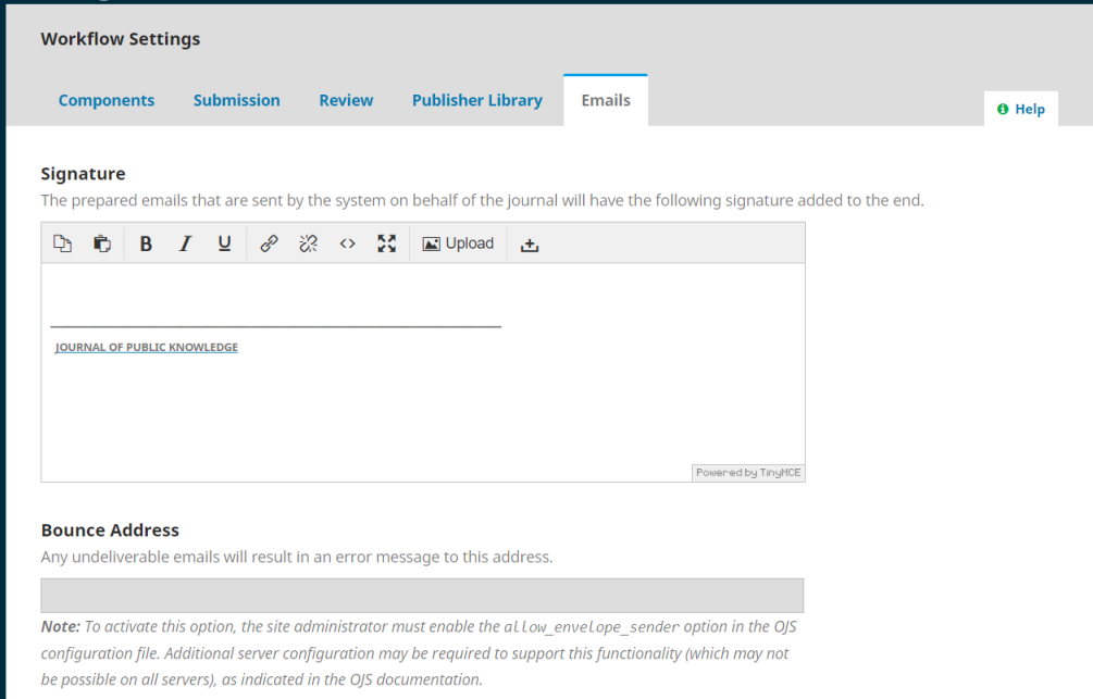 OJS Workflow Email Setting Tab