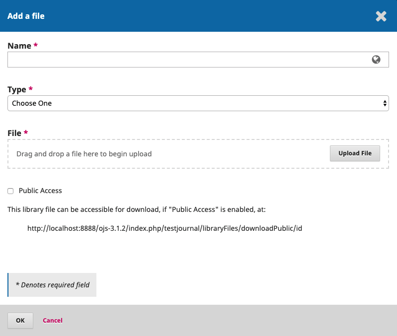 OJS Workflow Setting, Add file in publisher library