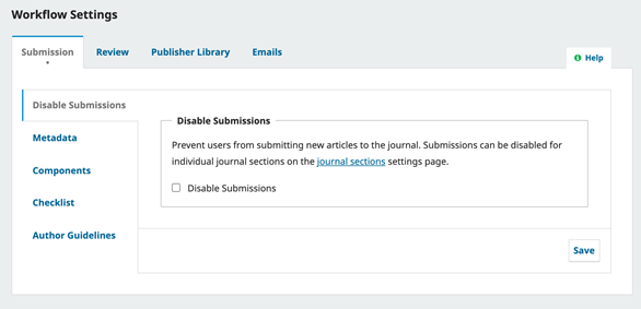 OJS Workflow Setting, Disable Submission Section