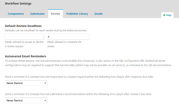 OJS Workflow Setting Review Sections