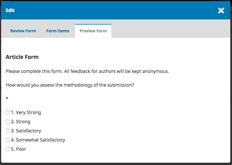 Review Form Preview In OJS Workflow Setting